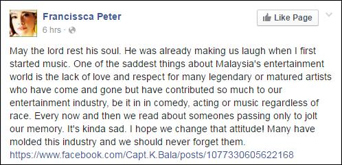 Komen daripada FB Francissca Peter.