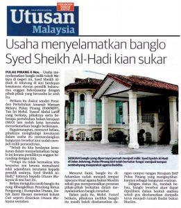 Laporan Utusan Malaysia tentang rumah Syed Sheikh al-Hadi. Imej dari pewaris