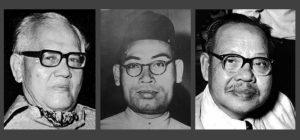 Dari kiri: Ishak Hj Muhammad (Pak Sako), Dr Burhanudin al-Helmy dan Zainal Abidin Ahmad (Za'ba).