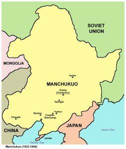 Manchukuo atau Negara Manchuria dipisahkan dari China oleh pihak Jepun. Imej dari Wikipedia.