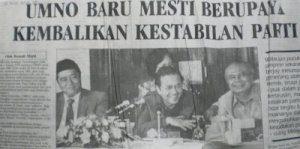 Lepas UMNO diharamkan, UMNO Baru ditubuhkan. Imej dari kedahlanie2u.