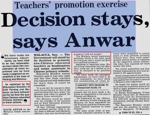 Anwar Ibrahim (Menteri Pelajaran ketika itu) mempertahankan tindakan kerjaan dalam isu guru di SJKC