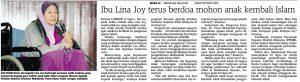 Kes murtad Lina Joy pernah menggemparkan Malaysia. Imej dari membelaislam.wordpress