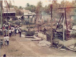 Keadaan asrama yang terbakar. Imej dari Sinar Harian.