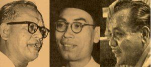 Dari kiri: Ishak Hj Muhammd, Dr Burhanuddin al-Helmy dan Ahmad Boestamam. Imej dari Aliran