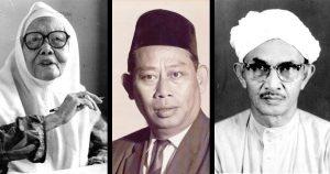 Dari kiri: Ibu Zain, Tun Sardon Jubir dan Hj Ahmad Badawi. Imej dari Kementerian Pengangkutan, Pejabat Tun Abdullah Badawi & Utusan Malaysia.