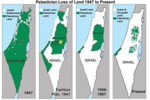 Keadaan wilayah Israel & Palestin dari tahun 1948 sampai sekarang. Imej dari Middle East Monitor.